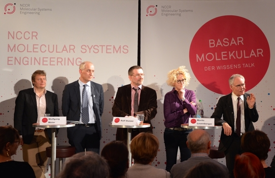 From right: Moritz Leuenberger, Karin Müller, Ralf Stutzki (host), Sven Panke and