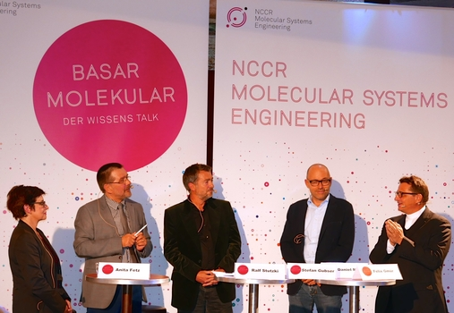 Anita Fetz, Ralf Stutzki (host), Stefan Gubser, Daniel J. Müller (NCCR) and Felix Gmür were the guests at the talk on 22 October 2015.