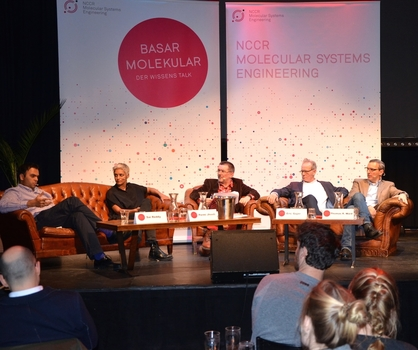 Basar Molekular on 25 February 2016 at Sud. Guest were Sai Reddy, Permi Jhooti, Eric Guyer and Thomas R. Ward. Middle: Host Ralf Stutzki.